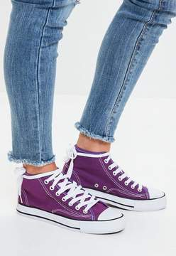 Missguided Purple High Top Canvas Sneakers