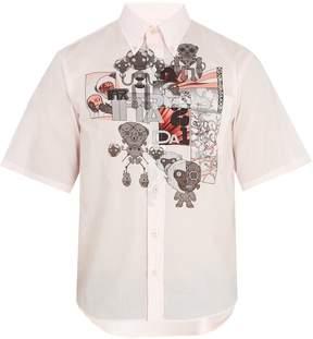 Prada Monkey-print cotton-poplin shirt
