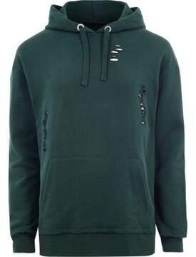 River Island Mens Dark green ripped oversized hoodie