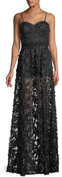 Aidan Mattox Embroidered Illusion Gown w/ Optional Straps