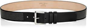Jimmy Choo ARCHER Black Satin Leather with Mini Studs Belt