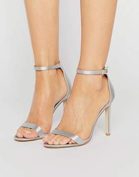 Public Desire Avril Pale Gray Satin Barely There Heeled Sandals