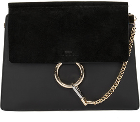 Black Faye Calfskin Suede Shoulder Bag