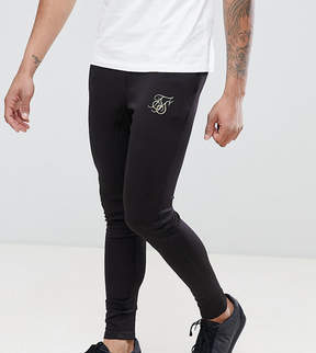 SikSilk TALL Skinny Track Joggers In Black With Gold Logo Exclusive to ASOS