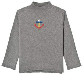 Bobo Choses Grey Embroidered Anchor Turtle Neck Jumper