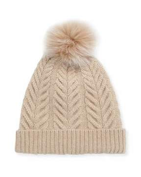 Sofia Cashmere Staghorn Cable Knit Hat w/ Fur Pompom, Beige