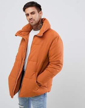 Pull&Bear Puffer Jacket In Orange