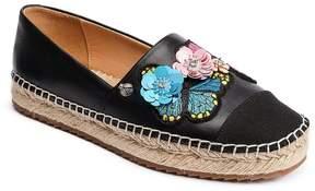 Bill Blass Wyatt Leather Floral Applique Espadrilles