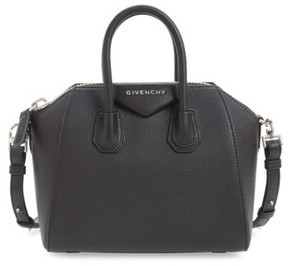Givenchy 'Mini Antigona' Sugar Leather Satchel - Black