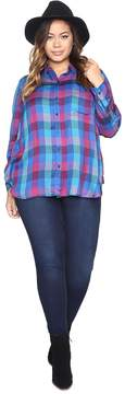 Lucky Brand Plus Size Back Overlay Shirt Women's Clothing