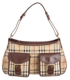 Burberry Leather-Trimmed Haymarket Check Bag - PATTERN PRINTS - STYLE