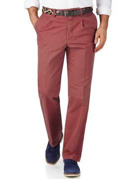 Charles Tyrwhitt Light Red Classic Fit Single Pleat Weekend Cotton Chino Pants Size W30 L38
