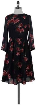 Erin Fetherston Black Red & Green Floral Print Pleated Dress