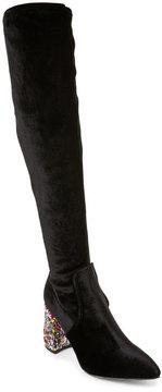Betsey Johnson Keeva Glitter Heel Over The Knee Boots