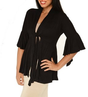 24/7 Comfort Apparel Women's 3/4 Bell Sleeve Shrug With Front Tie