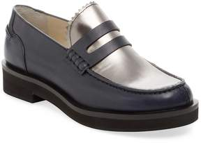 Jil Sander Navy Women's Leather & Metallic Leather Penny Loafer