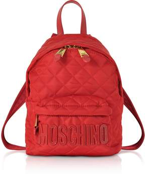 Moschino Red Quilted Nylon Small Backpack w/Signature Logo
