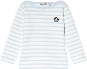 Petit Bateau Pale Blue And White Striped Long Sleeve T-Shirt