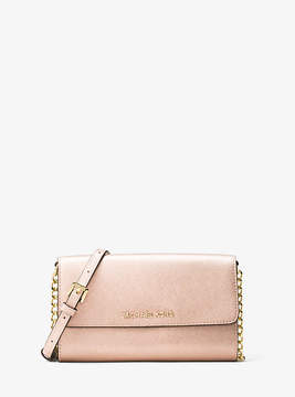 Michael Kors Jet Set Travel Metallic Leather Smartphone Crossbody - PINK - STYLE
