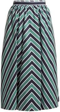 Fendi Chevron-striped A-line cotton midi skirt