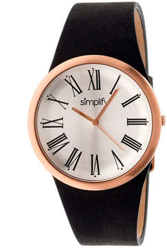 Simplify Mens The 2000 Rose Gold With Silver Dial Black Leather-Band Watch Sim2005