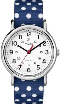 Timex TW2P660009J Womens Weekender Blue & White Dots Nylon Slip Thru Strap Watch