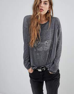 Blend She Bernie Printed Burnout Long Sleeved T-Shirt