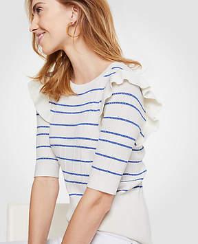 Ann Taylor Stripe Ruffle Shoulder Sweater