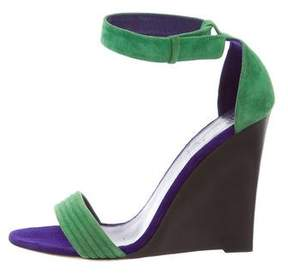Celine Bi-Color Suede Wedge Sandals