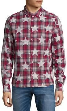 Mostly Heard Rarely Seen Men's Star Plaid Cotton Button-Down Shirt