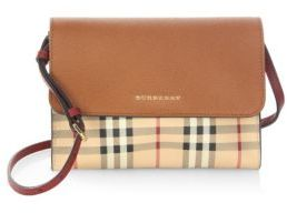 Burberry Haymarket Check Crossbody Bag - BRIGHT TOFFEE - STYLE