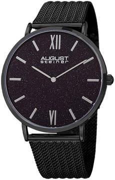 August Steiner Mens Black Strap Watch-As-8218bk
