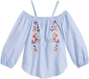 Beautees Off-the-Shoulder Embroidered Cotton Top, Big Girls