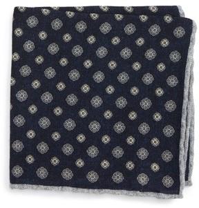 Eleventy Men's Medallion Wool Pocket Square