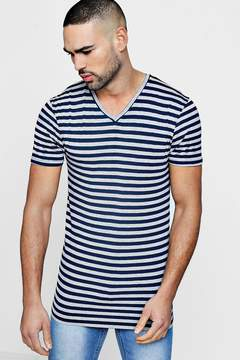 boohoo V Neck Muscle Fit Stripe T Shirt