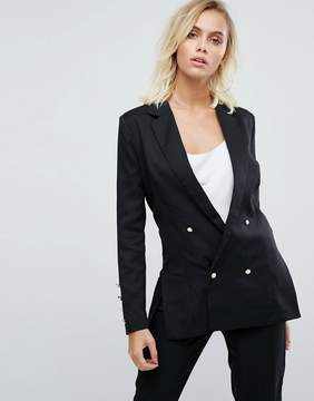 Fashion Union Double Breasted Blazer With Pearl Buttons
