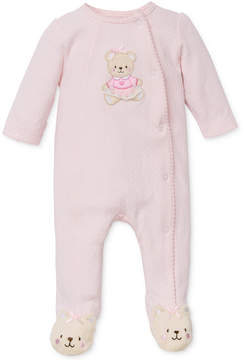 Little Me Baby Girls' Sweet Bear Footed Coverall