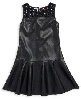 Ella Moss Girl's Jacey Faux Leather A-Line Dress with Lace Design