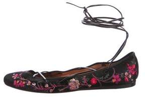 Etro 2017 Embroidered Lace-Up Flats