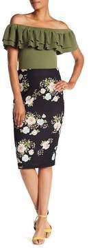 ECI Floral Midi Pencil Skirt