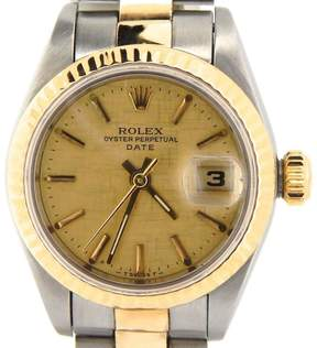 Rolex Date Oyster 69173 Two Tone 18K Yellow Gold & Stainless Steel Womens Watch