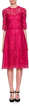 Dolce & Gabbana Elbow-Sleeve Heavy Lace A-Line Cocktail Dress
