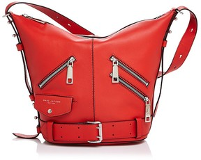 Marc Jacobs The Sling Motorcycle Leather Hobo - LAVA RED/SILVER - STYLE