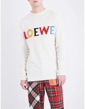 Loewe Logo-appliquéd cotton and silk-blend top