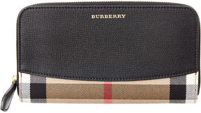 Burberry House Check & Leather Ziparound Wallet - BLACK - STYLE