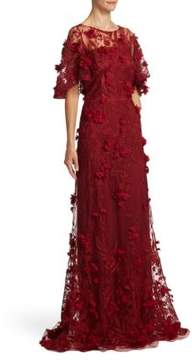 David Meister Embellished Floral Applique Gown