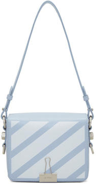 Off-White Blue Diagonal Binder Clip Bag