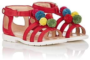 Aquazzura Kids' Pom-Pom Suede Sandals