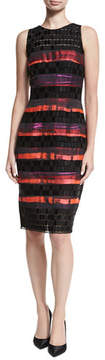 Carmen Marc Valvo Sleeveless Sequined Lace Striped Cocktail Sheath Dress
