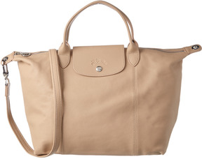 Longchamp Le Pliage Cuir Medium Leather Top Handle Tote - BEIGE - STYLE